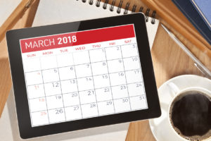 march 2018 calendar and coffee